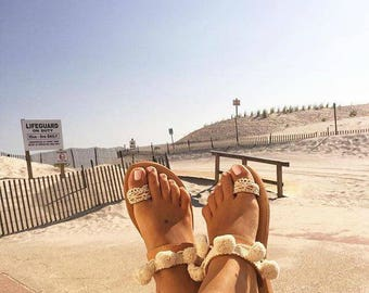 Boho leather sandals, Bohemian sandals, Greek leather sandals, Pom pom and lace sandals, Pom pom sandals, Womens sandals