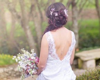 Collier mariage bijou de dos, goutte en cristal, bijoux mariage argent, collier breloques, backdrop necklace, silver necklace, wedding