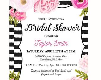 "Black Stripe Bridal Invitation Digital File: ""BLACK STRIPE INVITATION"" with watercolor flower accents for kate spade baby/bridal shower"