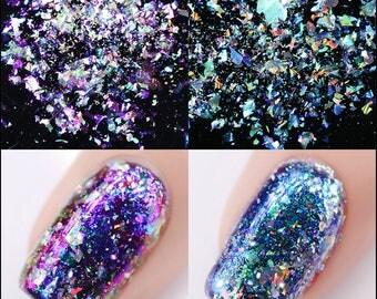 Unicorn Rainbow Metallic Duo-Chrome Holographic Transparent Chameleon Glitter Flakes Colour-Changing Nail Art Salon Powder
