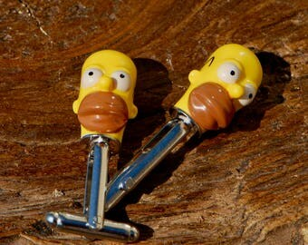 Groomsmen Cufflinks - Gift Idea For The Groom - Homer Simpson Cufflinks - Wedding Cufflinks For Him - Fun Cufflinks