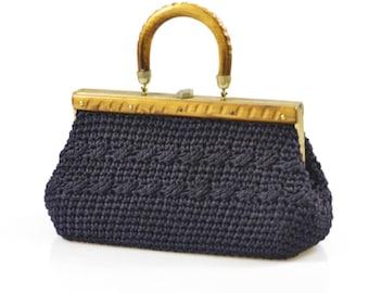 Vintage 1950s 1960s dark blue woven raffia and wood handbag