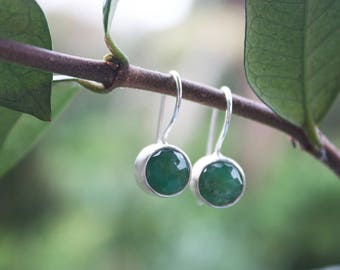 Faceted Chrysoprase Earrings set in Brushed Sterling Silver
