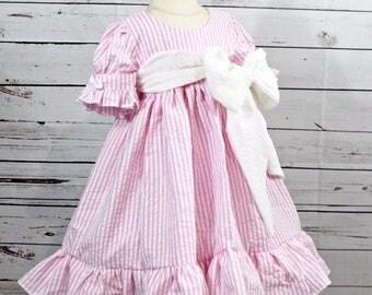 Girls Pink Dress- Toddler Girls Dress- Summer Dress- Easter Dress-Spring dress- Twirly Dress- Seersucker Dress- 2t, 3t, 4t, 5t, 6, 7, 8, 10