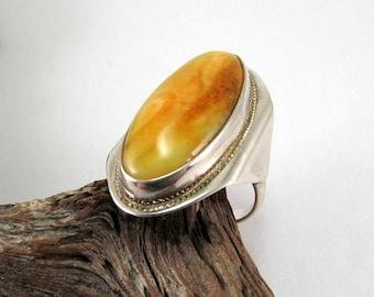 Baltic Amber Yellow Yolk Ring 925 Silver 6,1 gram Handmade Natural Fossil Amber Gemstone