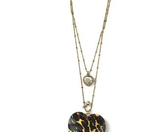 Vintage Betsey Johnson Leopard Print Heart Locket Necklace