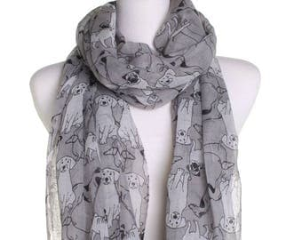 Grey Sketched Dog Print Scarf / Pug Labrador Hound Dachsund Dogs / Ladies Scarves / Animal Shawl / Gifts For Her / Puppy Lover / Sarong
