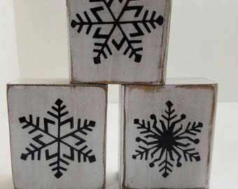 Farmhouse Christmas decorations. Wood snowflakes.  Rustic christmas decor. Decorative snowflakes. Set of 3.