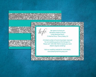 Tiffany Blue Information Card, Mint Accommodation Card, Turquoise and Silver glitter  Infocard, Printable Info Card, S034