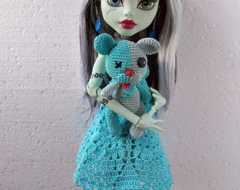 17 inch Monster High doll clothes.  Cyan Crochet Dress + Handmade Doll Shoes + Crochet Toy Bear for extra tall size MH dolls (17 '', 43 cm)