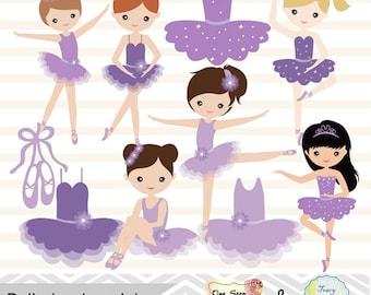 Digital Ballerina Clipart, Purple Ballet Girl Clip Art, Dancing Girl Clipart, Purple Ballet Dancer Clip Art, Cute Little Girl Clipart  0180