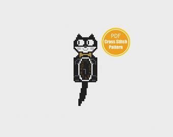 Kit Cat Clock Cross stitch Pattern - Instant Download PDF - Kit Kat Clock - Cat cross stitch Pattern - Retro - Vintage