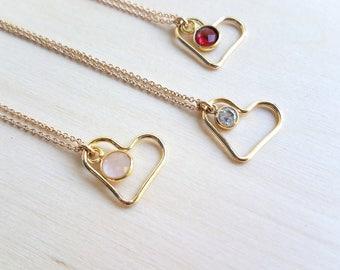Heart Necklace with Birthstone Gemstone
