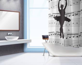 Ballet Dancer Shower Curtain - Black White Shower Curtain , Bath Curtain , Bathroom Decor , Bathroom Curtain , Fabric Bath Curtain ,