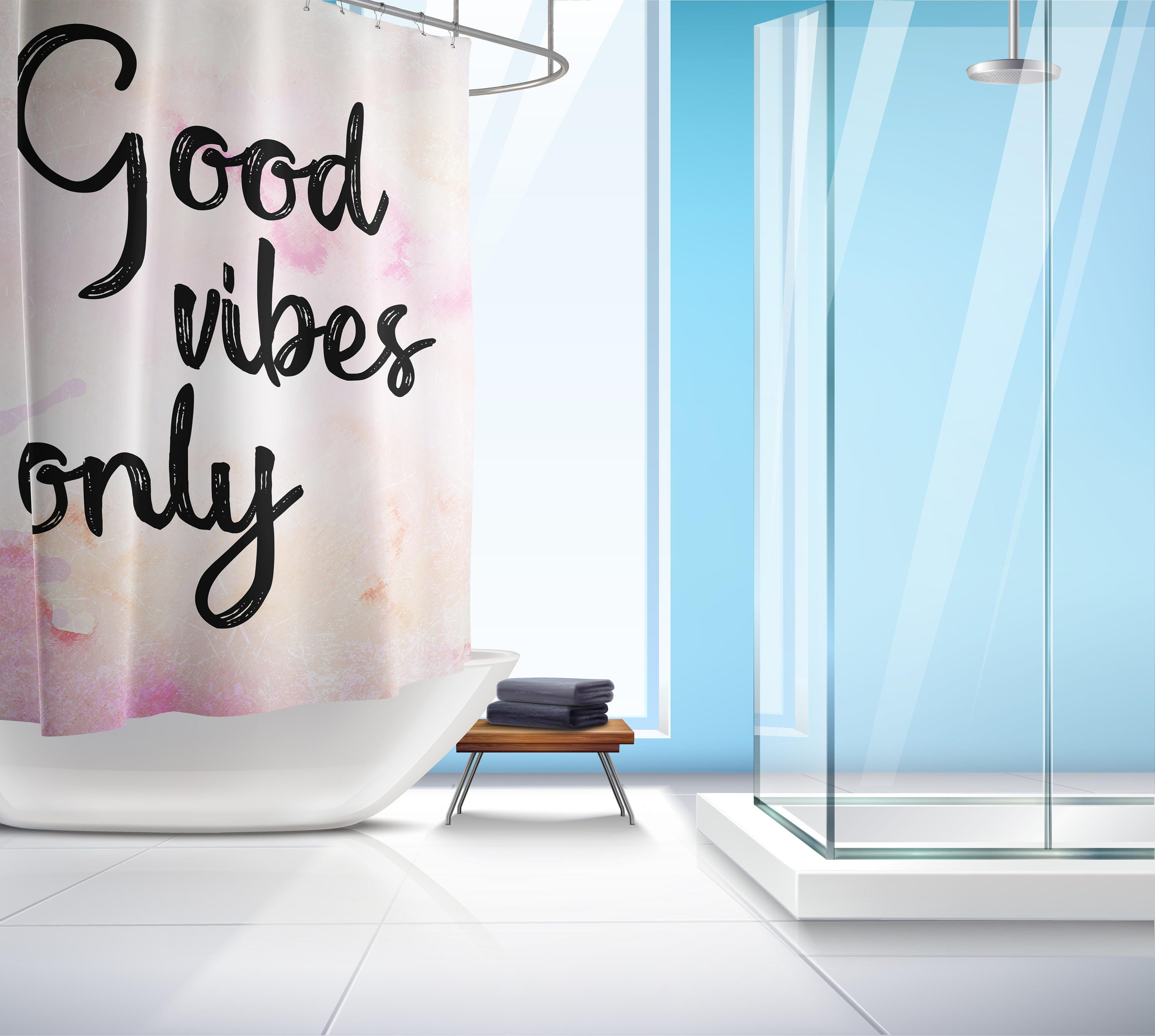 Good Vibes ly Shower Curtain Good Vibes shower Quote curtain