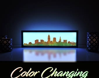 Cleveland Skyline, Cleveland Skyline Color Art, Cleveland Skyline Light Up Picture, Cleveland Skyline Wall Art, LED Sign, Home Decor