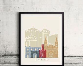 Aosta skyline poster - Fine Art Print Landmarks skyline Poster Gift Illustration Artistic Colorful Landmarks - SKU 2364
