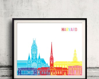 Harvard skyline pop - Fine Art Print Glicee Poster Gift Illustration Pop Art Colorful Landmarks - SKU 2471