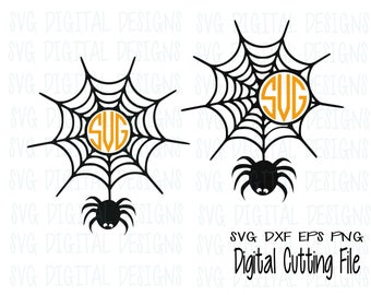 spider web monogram frame Set svg dxf eps png cut file, digital designs clipart cutting files for silhouette, cricut and electronic cutters