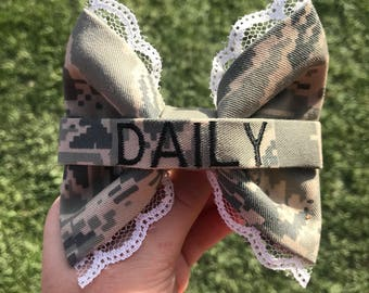 Military Air Force ABU Personalized Laced Nametape bow | Air Force Wife | Air Force Girlfriend | USAF | Military Bow | Military Graduation