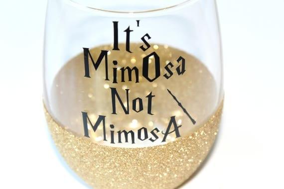 Harry Potter Glitter Wine Glass