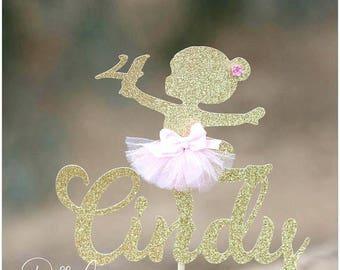 Ballerina Cake Topper, ANY AGE NAME, Tutu Decorations, Little Ballerina Birthday Party, Princess Ballerina Baby Shower, Girls Birthday Party