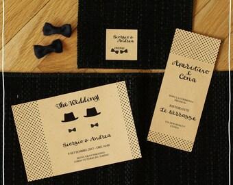 Wedding invitation set Gay Hats and polka dots