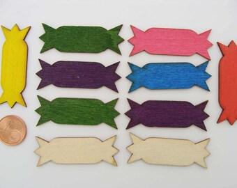 10 Embellissements BOIS Etiquettes 44mm mix couleurs scrapbooking