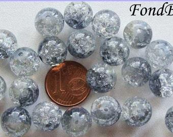 20 perles verre craquelé rond 10mm Transparent Gris Bleu DIY création bijoux