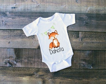 Fox w/Name & Bunting Flags - Woodland Animals Onesie or T-Shirt