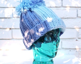 Knit look crochet slopes hat