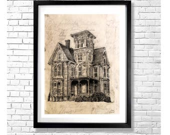 THE OLD HICKORY - Large Art Print Mysterious Vintage Antique Style Victorian Haunted House Poster in Sepia with Old Page Background