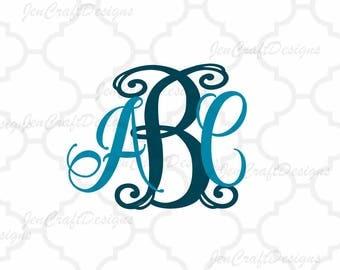 Curly Vine Interlocking Monogram Alphabet svg Upper & Lower Cutting File- SVG EPS Dxf Png Cut Files A-Z Alphabet Shilhouette and Cricut Ds