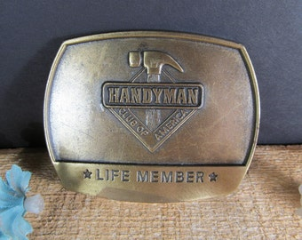 Handyman Belt Buckle, Vintage Handyman Club Of America, Life Member, Fashion Accessories, Retro Clothing, Unique Gift or Collectible