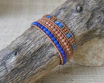 Beaded Leather Wrap Bracelet: Sapphire/Cobalt/Caramel/3 Wrap Bracelet/Layering Bracelet/September Birthstone/3rd Anniversary/Gift for Her