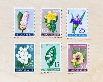6 Yugoslavia Botanical Postage Stamps Unused Plants Flowers Wedding Letters Mailing Invitations Calligraphy Envelopes Medicinal Floral
