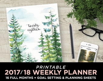 2018 LETTER size Planner Printable / Weekly planner / Monthly planner / Goal planner / Inspirational journal / Weekly organiser