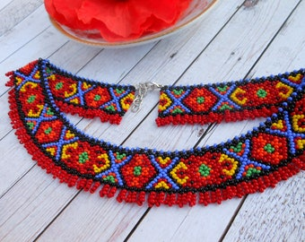 Ukrainian traditional necklace Ukrainian embroidery collar necklace beaded necklace Ukrainian jewelry for ukrainian gift ukrainian gerdan