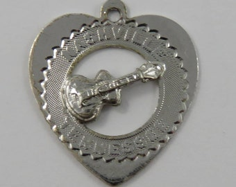 Nashville Tennessee Guitar on Heart Frame Sterling Silver Vintage Charm For Bracelet