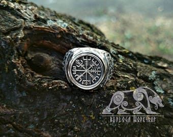 Vegvisir Ring Viking Ring Mammen Style Sterling Silver Runic Compass Ring Vegvísir Scandinavian Norse Ring Viking Jewelry