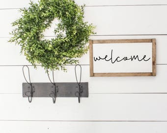 WELCOME |  Fixer Upper Decor, Farmhouse Signs, Farmhouse Sign Decor, Modern Farmhouse, Fixer Upper Style, Framed Wood Sign
