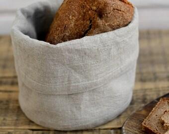 Natural linen bread basket, Linen bowl, Plant pot linen bag, Flax storage bin, Hygge decor, Fabric plant pot, Cloth bread basket