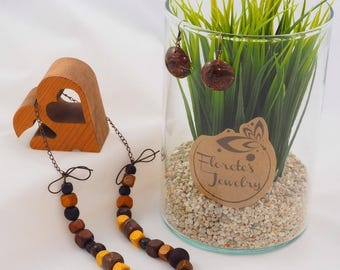 Brown jewelry set, polymer clay FIMO jewelry, wood beads, necklace and earrings in brown and yellow,Christmas gift,girlfriend, mother