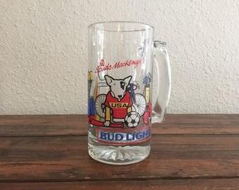 1988 Bud Light Beer Glass/ 16 oz./ Spuds MacKenzie / USA