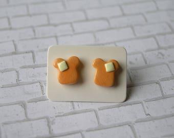 Toast Earrings, Stud Earrings, Sensitive Ears, Unique Earrings, Nickle Free Earrings, Food Earrings, Cute Earrings, Hypoallergenic