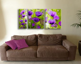 Wall Art Set, Canvas Set, Art Set of 3, Canvas Art Set, Purple Flowers Art, Abstract Wall Art Painting, Paintings on Canvas