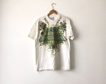 BEDAZZLED GLITTERY SHIRT // 1991 // Large // Giltter Shirt // Bedazzled // Bedazzled Shirt // Pattern Shirt // Glittery // Bedazzled // 90s