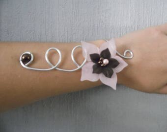 Bracelet bridal wedding Silver Aluminum wire, silk flower chocolate brown and light pink holiday evening ceremony