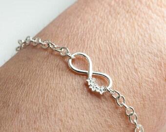 Infinity Bracelet   Bridesmaid Bracelet   925 Silver Friendship Bracelet    Sterling Silver Bracelet   Bridesmaid Gift   Flower Bracelet