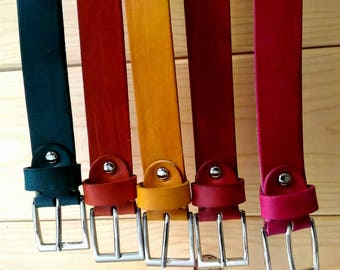 Hand-Colored Leather Leather Belts